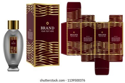 Packaging design, Label on cosmetic container with luxury box template and mockup box, illustration vector.