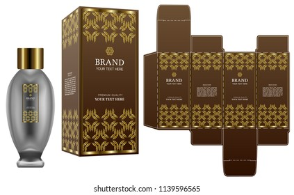 Packaging design, Label on cosmetic container with gold luxury box template and mockup box. illustration vector.