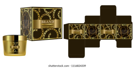 Packaging design, Label on gold cosmetic container with luxury box template and mockup box, illustration vector.