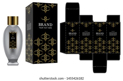Packaging design, Label on perfume or cosmetic container with black and gold luxury box template and mockup box, illustration vector.