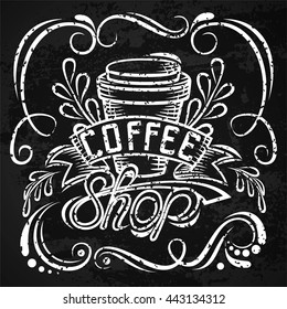 ?offee packaging design. Lettering hand drawing, fashion illustration of the theme of coffee. Locked coffee mug, store design. Isolated vector illustration2