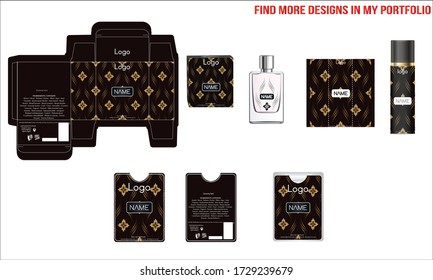 Packaging design, luxury perfume box, pocket perfume and deo design template and mock up box. Illustration vector.