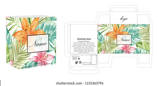 Packaging design, perfume luxury box design template and mockup box. Illustration vector.