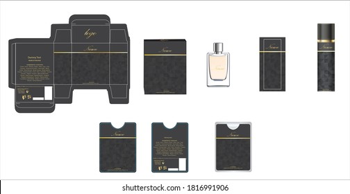 Packaging design, perfume luxury box design template and mock up box. Illustration vector.
