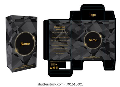 Packaging design, perfume luxury box design template and mockup box. Illustration vector