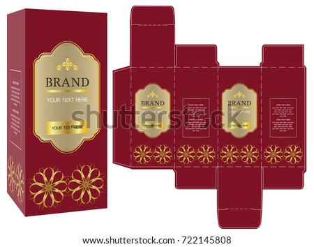 packaging design red gold luxury box stock vector royalty free