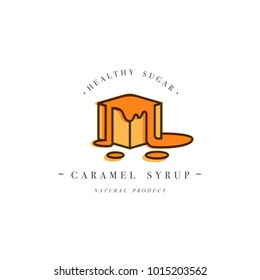 Packaging design template logo and emblem - syrup and topping - piece of sweet caramel. Logo in trendy linear style