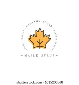 Packaging design template logo and emblem - syrup and topping - maple. Logo in trendy linear style