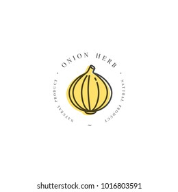 Packaging design template logo and emblem - herb and spice - onion head. Logo in trendy linear style