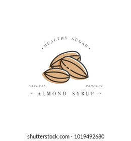 Packaging design template logo and emblem - syrup and topping - almond. Logo in trendy linear style