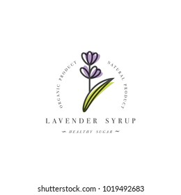 Packaging design template logo and emblem - syrup and topping - lavender branch. Logo in trendy linear style