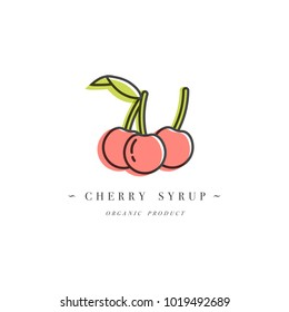 Packaging design template logo and emblem - syrup and topping - cherry branch. Logo in trendy linear style