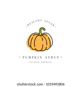 Packaging design template logo and emblem - syrup and topping - Orange pumpkin. Logo in trendy linear style