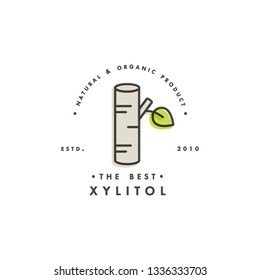 Packaging design template logo and emblem - sugar - xylitol. Logo in trendy linear style