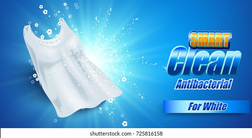 packaging design template for washing powder. Super clean. Soap bubbles, foam. Vector illustration.