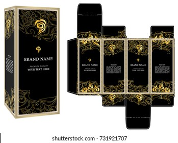 Packaging design vector, black and gold luxury box template and mock-up box.