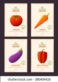 Packaging design for vegetable seeds. Vector template