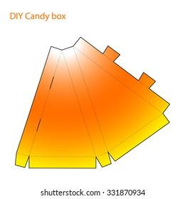 Packaging DIY craft cut and folded paper candy corn Halloween box template,  triangular form, vector reamer,  present bag papercut