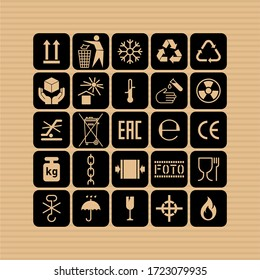 Packaging flat vector symbols. Signs on the package