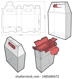 Packaging with handle for two bottles (Internal measurement 21.3 x 8.8 + 23.25xcm) and Die-cut Pattern