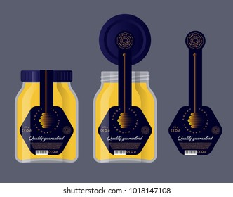 Packaging for honey. Honey logo. Honey dipper icon Glass jar and lid with a label.
