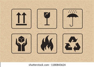 Packaging icon set of fragile care sign and symbol on brown cardboard background. Vector illustration.