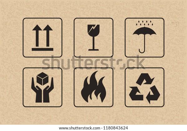 Icono De Embalaje De Frágil Signo De Cuidado Y Símbolo Sobre Fondo De Cartón Marrón Ilustración