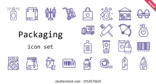 packaging icon set. line icon style. packaging related icons such as sun lotion, bag, organic eggs, delivery truck, bow, perfume, packs, bucket, detergent, shopping bag, package delivered, toothpaste