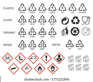 Packaging icon symbol set. Package logo sign collection. GHS pictograms. Recycling codes. Vector illustration. Isolated on white background.