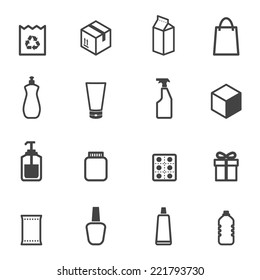 packaging icons, mono vector symbols