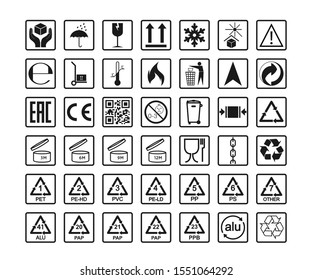 Packaging icons, package signs set. Vector illustration, flat design.