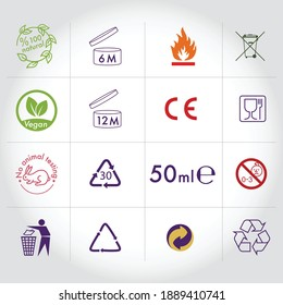 Packaging icons, package signs set. vector illustration, flat design, environmental, recycling