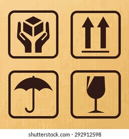 Packaging icons or sign set,Vector fragile signs on cardboard.- Vector illustration.