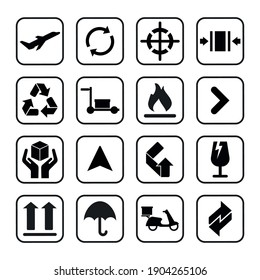Packaging icons symbol in flat style. Black signs on the package. Vector illustration