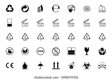 Packaging icons vector,  set : Triman, Mobius,  Tidyman, PAO, Alu, CE, Plastic and more.