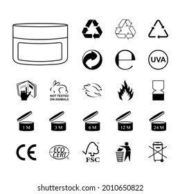 Packaging icons vector,  set : Triman, Mobius, Green Dot, Tidyman, PAO, Alu, CE, Plastic and more.