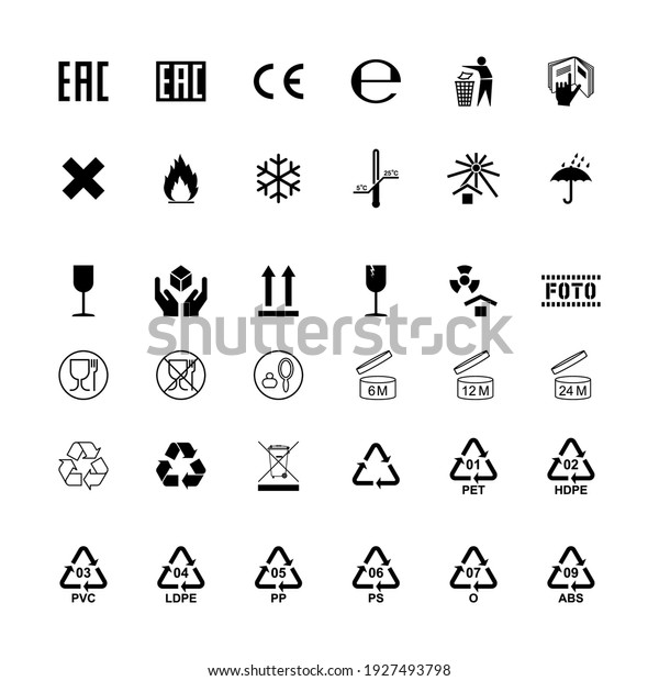 Packaging label cargo isolated symbols set. Vector