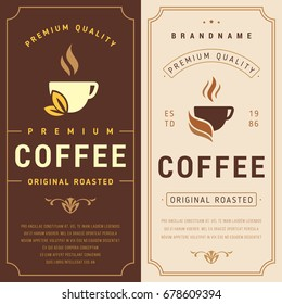 Packaging with Label for Coffee Bean. Vector Label for Coffee with Cup.