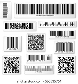 Packaging labels, bar and QR codes on white vector stickers. Code qr for identification product in shop, scan data with using bar code illustration.