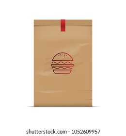 Packaging paper in barger or fast food.