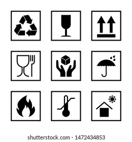 Packaging pictogram set isolated on white background. Packing icon collection including fragile, recycle, right side up, keep dry, CE marking and other signs. For box, design, infographic