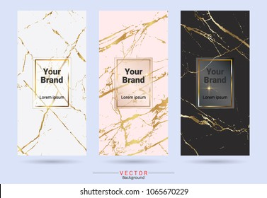 Packaging premium box design label and stickers templates, Suitable for luxury products brands with marble texture, golden foil and linear style (Vector EPS10, Fully editable, resizable, color change)