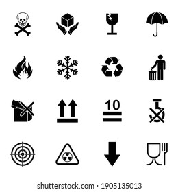 packaging product alert sign icon set vector symbol