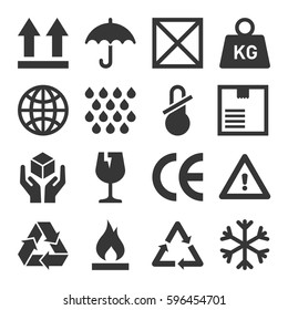 Packaging and Shipping Symbols Set. Vector