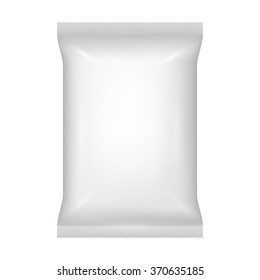 Packaging for snacks, baked, chips, pickles, canned food, salt, sugar, spices, food batch, gray foil package with a sealed edges, isolated on a white background.