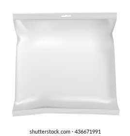 Packaging for snacks, food, chips, sugar and spices. Isolated on a white background.