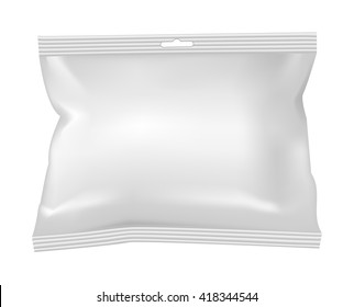 Packaging for snacks, food, salt, sugar and spices. Isolated on a white background.