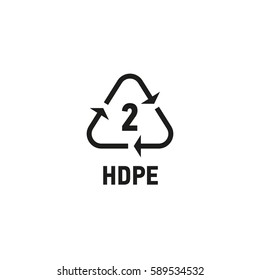 Packaging symbol isolated on white background vector illustration. Recycling symbol showing packaging materials made from high density polyethylene material. HDPE 2 sign