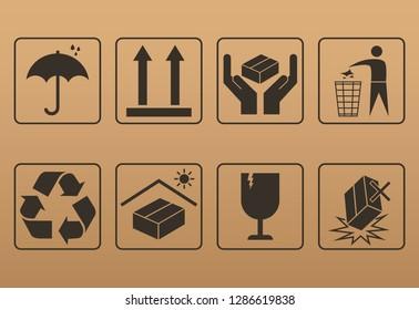 packaging symbol set. vector illustration
