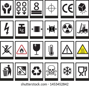packaging symbols  fragile.handle with care,flammable,This way up,Use no hooks,do not stack,heavy,stack limitation,protect from heat,temperature limitations,keep dry,center of gravity,Only use trolley